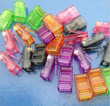 100 pcs * Colorful Crystal RJ45 8 Pin Plug LAN Network Connector