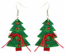Zest Christmas Tree Earrings with Sparkly Beads - Pierced Ears Green & Red