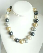 "Carolee Knotted Faux 16mm Pearl White Champagne Silver 19"" Necklace Silvertone"