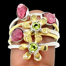 Two Tone - Pink Tourmaline 925 Sterling Silver Ring Jewelry s.6.5 SR213715
