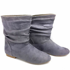 FASHION LADIES WOMEN'S FLAT HEEL ANKLE BOOTS WINTER SHOES FAUX SUEDE SIZE FB-490