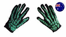Men Women Party Costume Halloween Ghost Gothic Green Skull Skeleton Bone Gloves