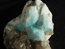 A Bright BLUE Amazonite Crystal Cluster With SMOKY Quartz! From Colorado 102gr