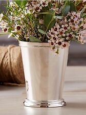 TWOS COMP. SILVER-PLATED LG MINT JULEP CUP VASE BEADED EDGING $32.50 4.5""