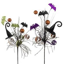 SET/2 RAZ IMPORTS HALLOWEEN DECOR FLORAL PICK WITCH HAT SPRAY WREATH ARRANGEMENT
