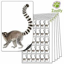 480 Lemur Stickers (38 x 21mm) Quality Self Adhesive Animal Labels By Zooify.