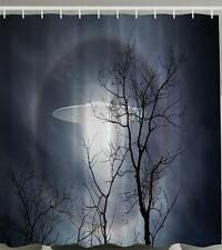 UFO WHITE ORB LIGHT BEAM SCARY CLOUDY SKY LEAFLESS TREE Shower Curtain