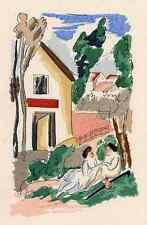 En el jardín antes de la casa-Adolphe resorte colorierte litografía a. perrigot arches