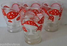 lot of 4 vintage DRINKING GLASSES w/ Red & White MUSHROOMS 1960-70s D
