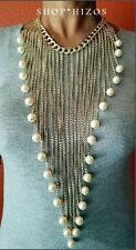 "LONG 30"" GOLD METAL CHAIN LINK CHUNKY PEARL BIB CASCADE NECKLACE NEW"