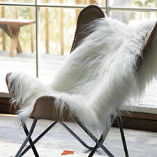 Amazing Icelandic genuine soft long wool sheepskin rug  white-ivory 2 Wx3.5 L