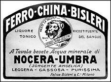 PUBBLICITA' FERRO CHINA BISLERI ACQUA NOCERA UMBRA SORGENTE ANGELICA 1930