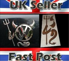 3D Dome Devil Demon Car Sticker Decal Badge Silver Chrome Effect VW Beetle Caddy