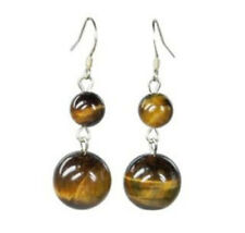Natural African Roar Tiger Eye Stone Gems Drop Dangle Earrings Silver Hook AA