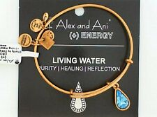 Genuine Alex and Ani Living Water Gold Tone Bracelet NWT and Card