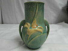 Vintage 1940s Roseville Art Pottery Green Zephyr Lily Double Handled Vase 130-6