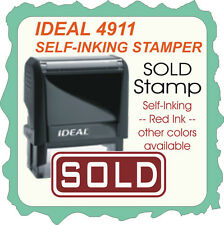 SOLD, Custom Made, Ideal / Trodat Self-Inking Rubber Stamp 4911 Red Ink