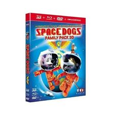 "SPACE DOGS ""FAMILY PACK 3D"" - BLURAY 3D + 2D + DVD - NEUF SOUS BLISTER"