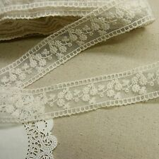 3 Yds  VTG Style Embroidery scalloped  FabricTulle Mesh Net Lace Trim 3.3cm Wide