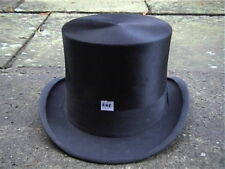 Antique Burton Black Silk Top Hat Sz 7 3/8 ..