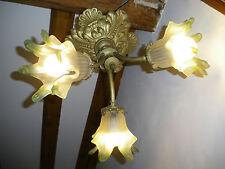 ancien lustre plafonnier bronze art nouveau lampe décoration éclairage tulipe