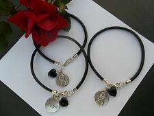 3 CT. MELANOMA SKIN CANCER AWARENESS BLACK  LEATHER CHARM BRACELETS W/HEART BEAD