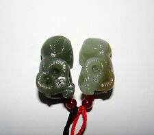"1.4"" China Certified Nature Nephrite Hetian Jade Lucky OX Pair Necklace Pendants"