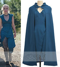 Game of Thrones Daenerys Targaryen Blue Dress Cosplay Costume Summer Women Dress