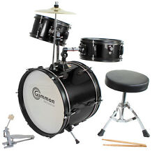 New Gammon Black Drum Set Junior Childrens Complete Child Kids Kit Stool Sticks