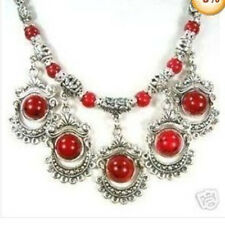 2015 Tibet Ethnic Jewellery tibet Silver Turquoise RED Necklace