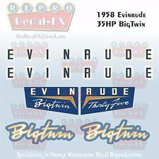 1958 Evinrude 35 HP Big Twin Outboard Repro 6 Pc Marine Vinyl Decals 25034-25035