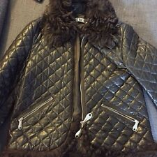 Iceberg Brown Quilted Leather Zip Jacket With Mongolian Fur Collar & Cuffs