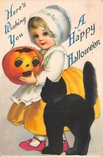 HALLOWEEN PC, UNSIGNED CLAPSADDLE, GIRL WITH BLACK CAT HOLDS JOL &  used 1920