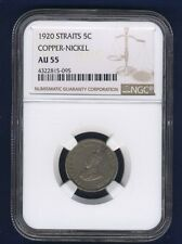 STRAITS SETTLEMENTS GEORGE V  1920  5 CENTS COIN, CERTIFIED NGC AU-55