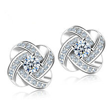 Charm Women Hot Silver Plated Ear Stud Zircon Shiny Crystal Rhinestone Earring