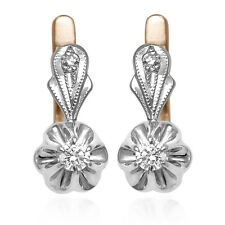 Russian jewelry Solid in 14k Rose & White Gold Real Genuine Diamond Earrings