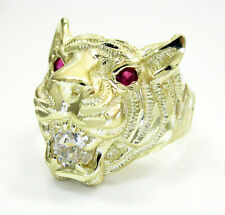 7.40 Grams 10k Yellow Gold Mens Tiger Head Ruby Gemstone Hip Hop Ring
