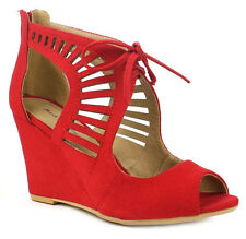 New Red cut out  wedge High Heel peep toe lace faux nubuck women sandal Size 7