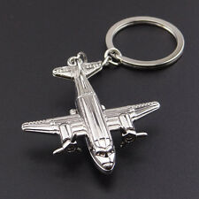 1PCS Kid Creative 3D Airplane Alloy Silve Keychain Key Ring Pendant Collectable