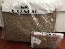 2 NEW~COACH ~EAST WEST CELESTE HOBO~KHAKI/STRAWBERRY.~F58284 & WRISTLET~ F58330