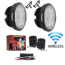 Dual Round 27W LED HID Xenon Search Work Light Floodlight Car Wireless Remote