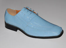 Oxfords Faux Leather Embossed Men's Dress Shoes #5733 Sky Blue Lilac Silver