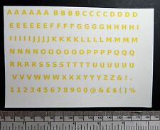 "Letter & number water-slide transfers 5 mm / 3/16"" - yellow 128 characters"