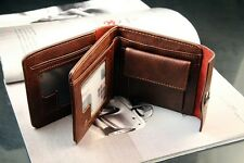 Mens Leather Brown Credit ID Card Holder Slim Purse Bifold Wallet Accessories CN