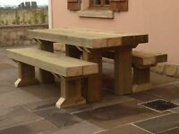 UN-SANDED Solid Wooden Sleeper Outside Table And Benches /Garden Furniture