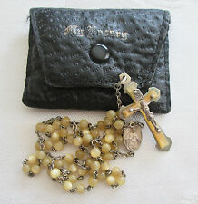 Vintage FRANCE Celluloid Beads Rosary w/Leather Case