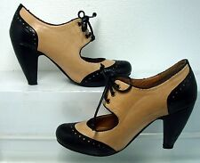 Miz Mooz Anthropology Symphony Black Tan Mary Jane Lace Up High Heels sz 6