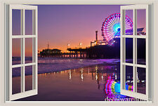 Los Angeles Pier Night Window View Repositionable Color Wall Sticker Wall Mural