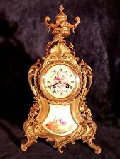 C1880s French Bronze Mantel Clock w/ Sevres Style Porcelain Panel & Dial 17 1/2H