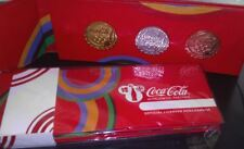LONDON 2012 OLYMPICS COCA COLA 3 BOTTLE CAP SET GOLD,SILVER,BRONZE PIN BADGES